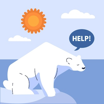 Platte ontwerp klimaatverandering concept met ijsbeer