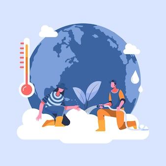 Platte ontwerp klimaatverandering concept