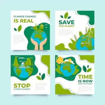 Platte ontwerp klimaatverandering instagram posts