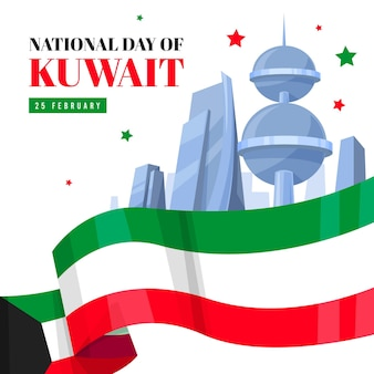 Platte ontwerp koeweit nationale feestdag