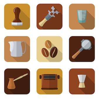 Platte ontwerp koffie barista apparatuur pictogrammen instellen
