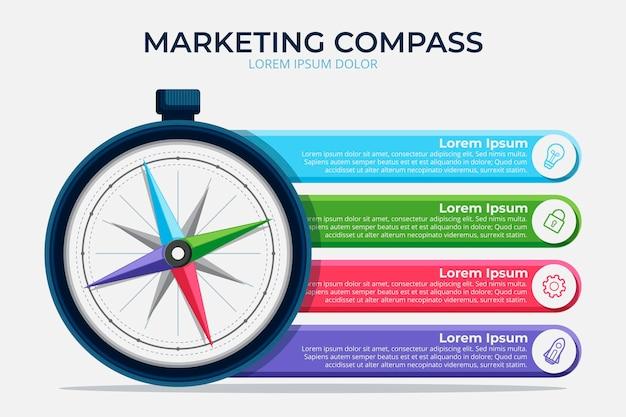 Platte ontwerp kompas infographic