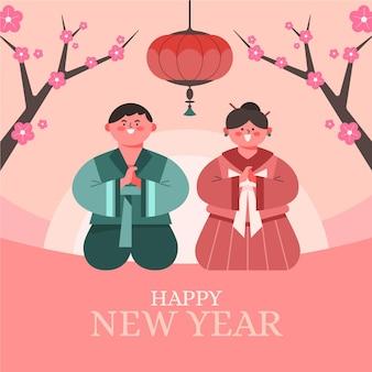 Platte ontwerp koreaans nieuwjaar