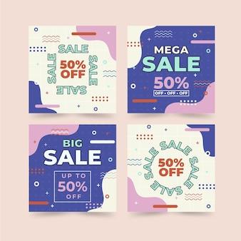 Platte ontwerp kortingsverkoop instagram-berichten