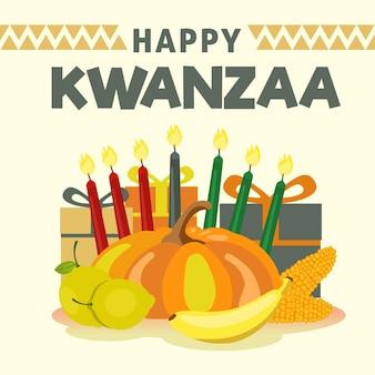 Platte ontwerp kwanzaa en fruit
