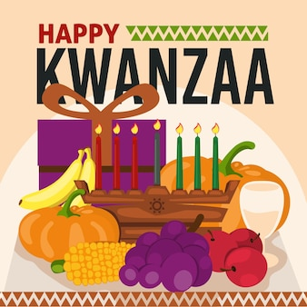 Platte ontwerp kwanzaa fruit en geschenken