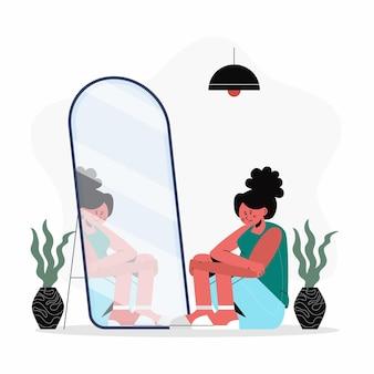 Platte ontwerp lage eigenwaarde illustratie met vrouw