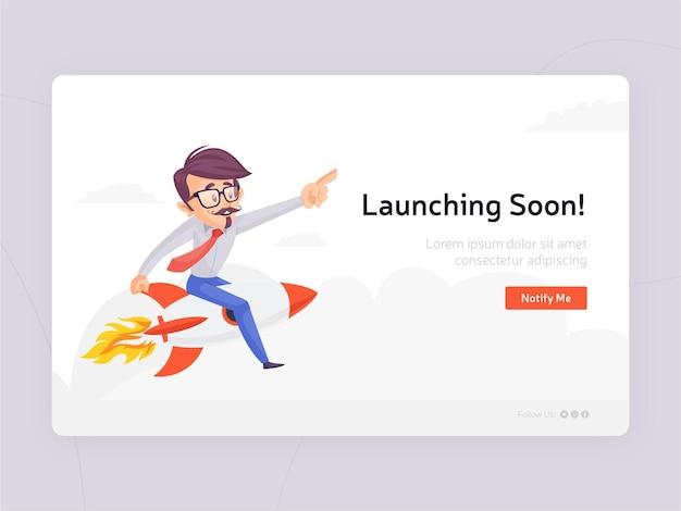 Platte ontwerp lancering binnenkort sjabloonontwerp