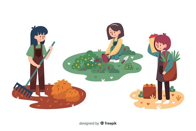 Platte ontwerp landbouwarbeiders geïllustreerd