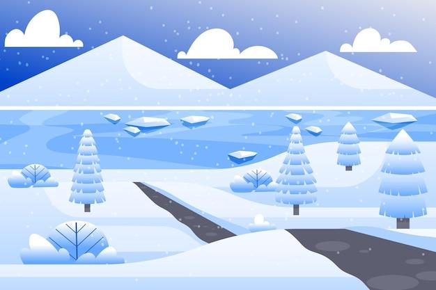 Platte ontwerp landschap in wintertijd behang