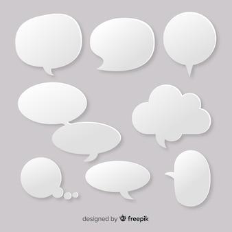 Platte ontwerp lege tekstballonnen instellen in papier stijl