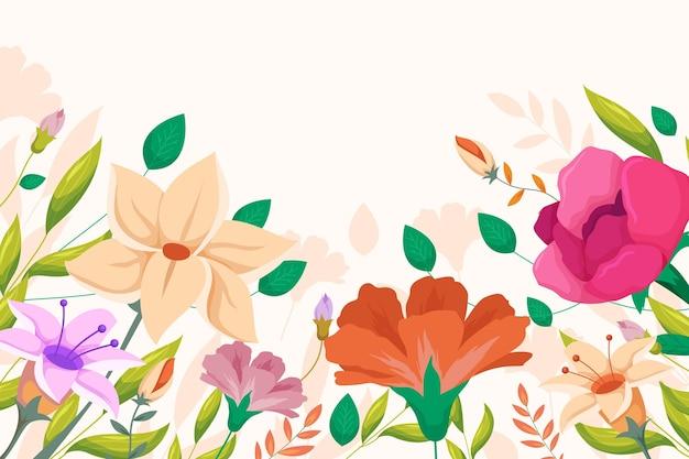 Platte ontwerp lente achtergrond met bloemen