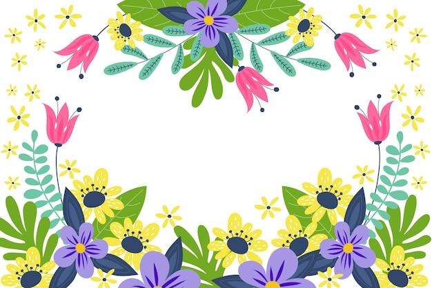 Platte ontwerp lente achtergrond met lege ruimte