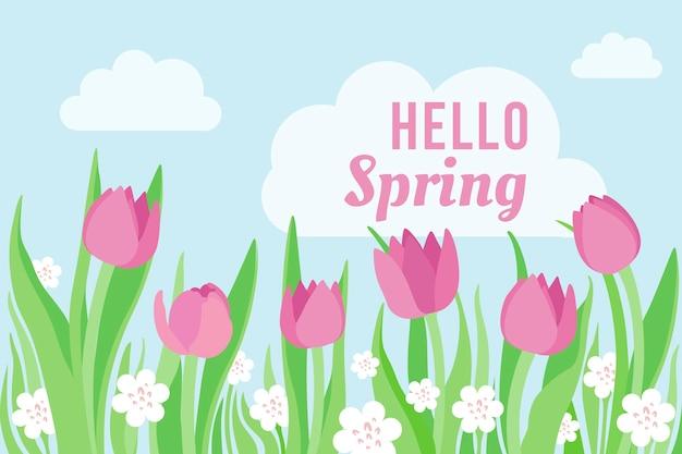 Platte ontwerp lente achtergrond met tulpen