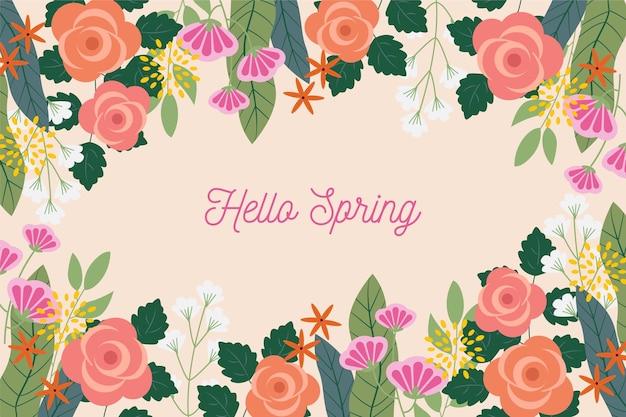 Platte ontwerp lente achtergrond