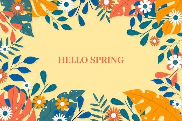 Platte ontwerp lente behang met bloemen