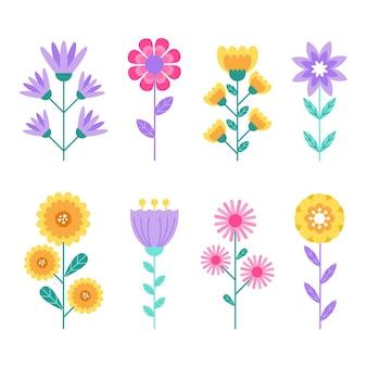 Platte ontwerp lente bloemencollectie
