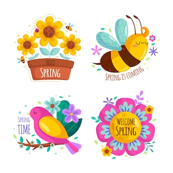 Platte ontwerp lente label set