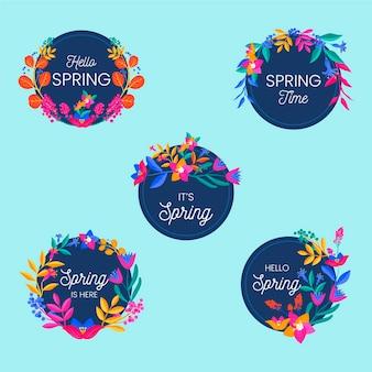 Platte ontwerp lente labels-collectie