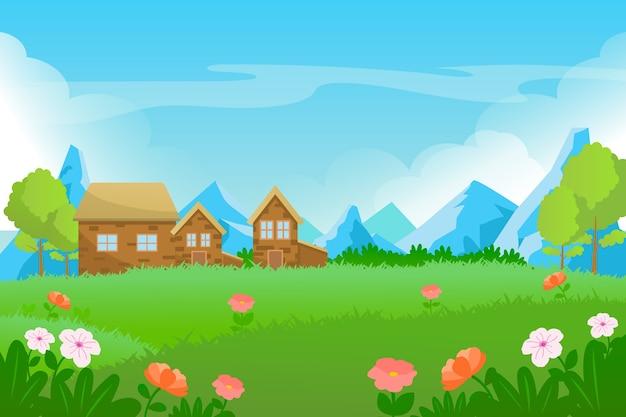 Platte ontwerp lente landschap concept