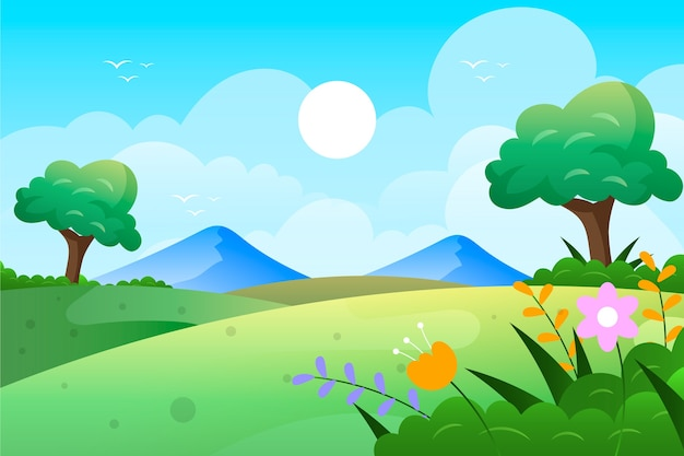 Platte ontwerp lente landschap met veld en bergen
