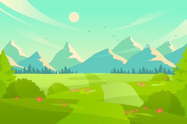 Platte ontwerp lente landschap