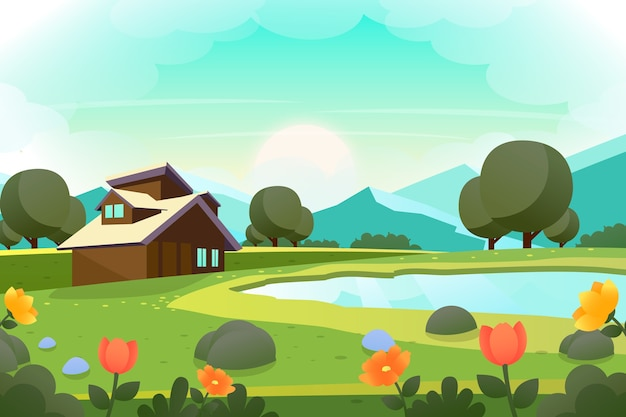 Platte ontwerp lente landschapsstijl