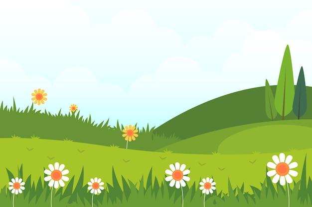 Platte ontwerp lente landschapsthema