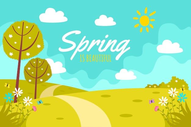 Platte ontwerp lente ontwerp voor achtergrond