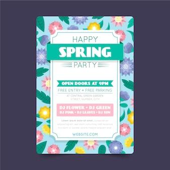 Platte ontwerp lente partij folder sjabloon