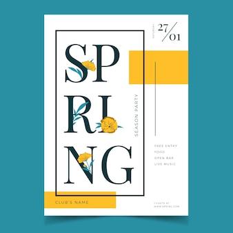 Platte ontwerp lente partij poster sjabloon