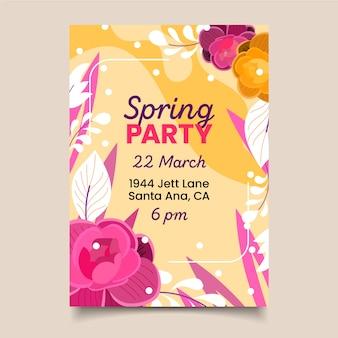 Platte ontwerp lente partij sjabloon folder thema
