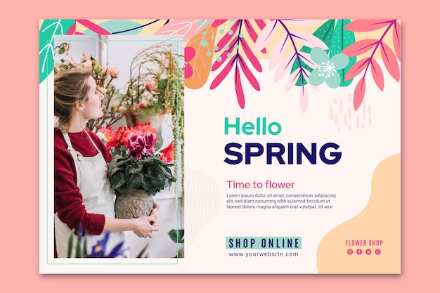 Platte ontwerp lente sjabloon voor spandoek