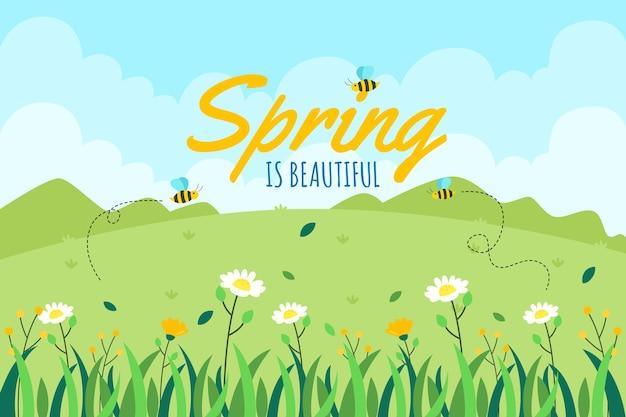 Platte ontwerp lente thema voor achtergrond
