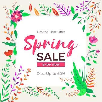 Platte ontwerp lente verkoop banner