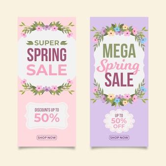 Platte ontwerp lente verkoop banners pack