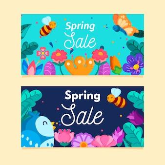 Platte ontwerp lente verkoop banners set