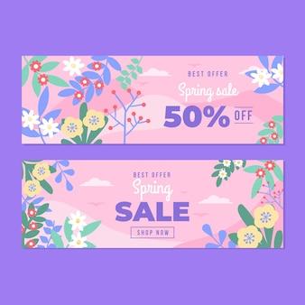 Platte ontwerp lente verkoop banners