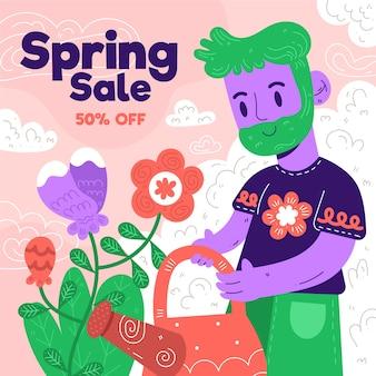Platte ontwerp lente verkoop belettering met schattige illustratie van man tuinieren