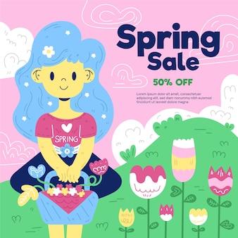 Platte ontwerp lente verkoop belettering met schattige illustratie van meisje tuinieren