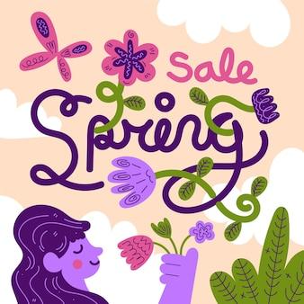 Platte ontwerp lente verkoop belettering met schattige illustratie