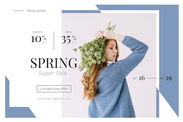 Platte ontwerp lente verkoop concept