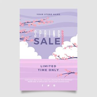 Platte ontwerp lente verkoop folder sjabloon