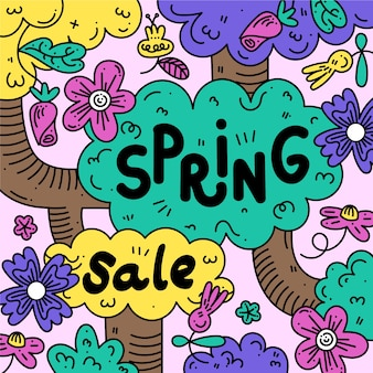 Platte ontwerp lente verkoop illustratie