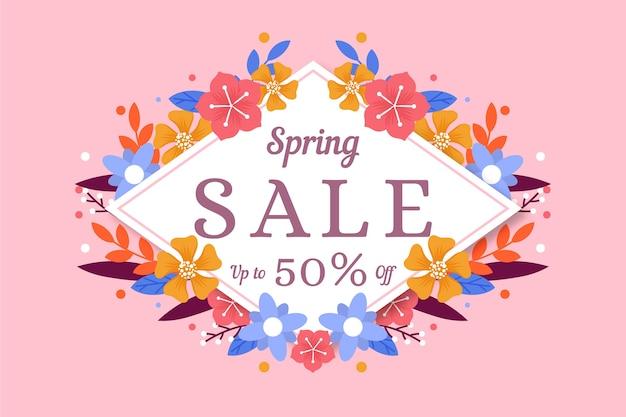 Platte ontwerp lente verkoop promotie banner