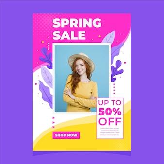 Platte ontwerp lente verkoop sjabloon folder met foto