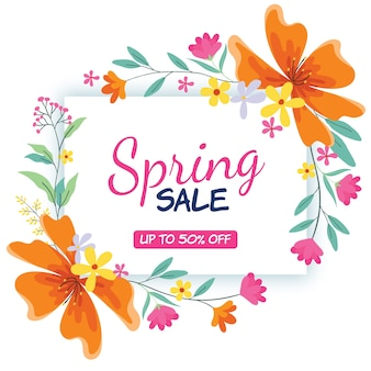Platte ontwerp lente verkoop thema