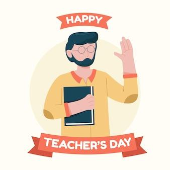 Platte ontwerp leraar dag illustratie