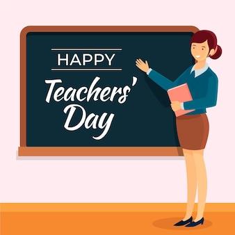 Platte ontwerp leraren dag achtergrond met vrouw en schoolbord
