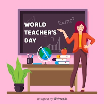 Platte ontwerp leraren dag achtergrond